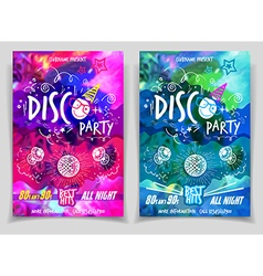 Disco music night party flyer set vector