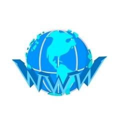 Earth globe internet icon cartoon style vector