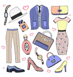 Fashion clothes and accessories set doodles vector