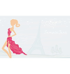 Fashion girl silhouette in paris background vector