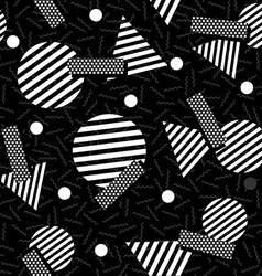 Geometric 80s retro pattern in black and white vector