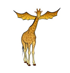 giraffe with the wings on the white vector image vector image