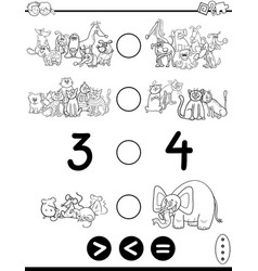 Greater less or equal cartoon coloring page vector