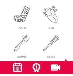 Gypsum heart and medical hammer icons vector