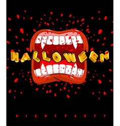 Halloween vampire screaming ghoul mouth with sharp vector