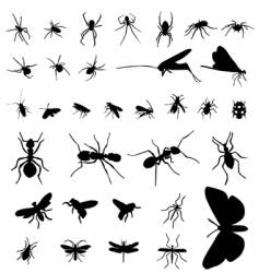 insect silhouettes vector image vector image