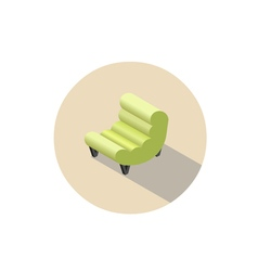 Isometric modern green armchair 3d flat interior vector