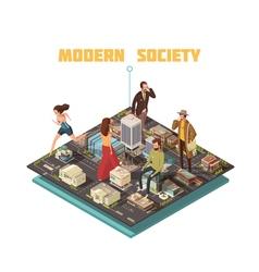 Isometric people society vector