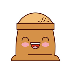 Kawaii sack of flour grain ingredient bakery icon vector
