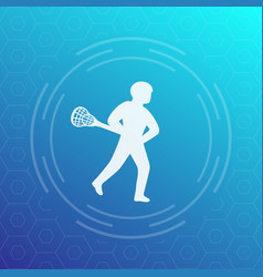 Lacrosse player icon vector