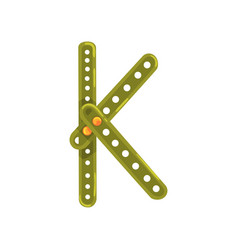 letter k made of green metallic constructor vector image