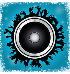 Loudspeaker and crowd on blue background vector