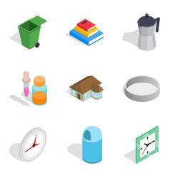 Matrimonial icons set isometric style vector