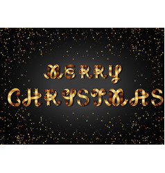 merry christmas gold sign on black background vector image vector image