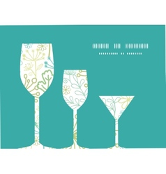 Mysterious green garden three wine glasses vector