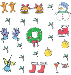 Object color christmas doodle vector