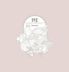 Pie ingredients vintage sketch vector