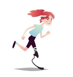 Prosthetic girl running vector