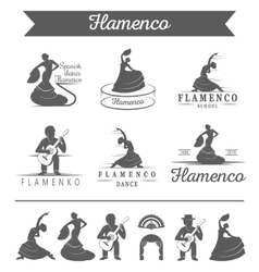 Set of badges Flamenco vector image
