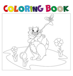 small kitten coloring book vector image vector image