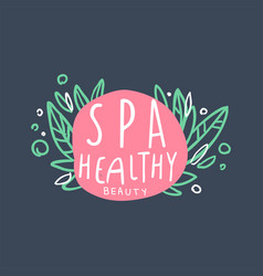spa healthy and beauty logo emblem for wellness vector image