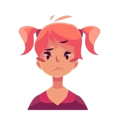Teen girl face upset confused facial expression vector