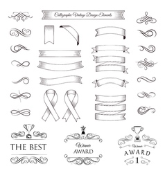 Trophy set ribbons medals awards cups and banners vector
