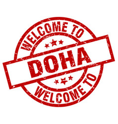 Welcome to doha red stamp vector