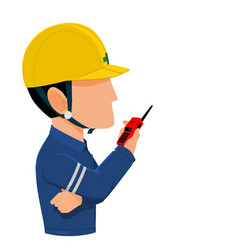 worker is talking with communication radio vector image vector image
