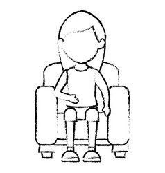 young woman sitting on sofa vector image