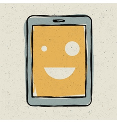 smiling tablet device vector image