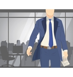 Business man standing in office with newspaper vector