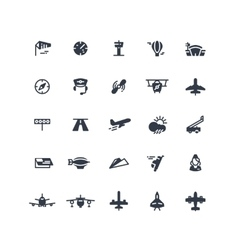 Airplanes and flight black icons vector