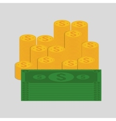 Coins and bills of money concept vector