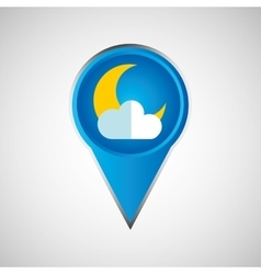 Signal weather moon cloud pin design vector