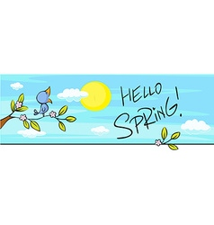 spring design horizontal with blossom and bird vector image