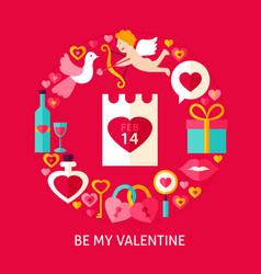 Be my valentine postcard vector