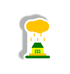 Rain cloud on housecloudburst downpour rain vector