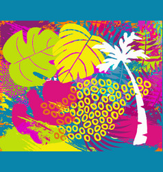 Tropical summer jungle plant leaf abstract art vector