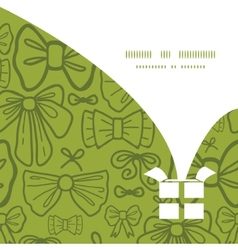 Green bows christmas gift box silhouette pattern vector