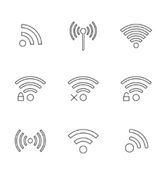 set of nine black outline wifi icons vector image