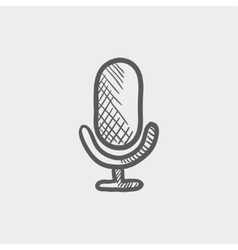 Old microphone sketch icon vector image