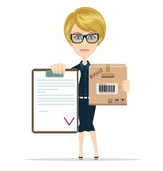 Pretty delivery woman with parcel and receiving vector