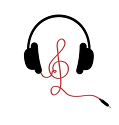Headphones with treble clef red cord music card vector