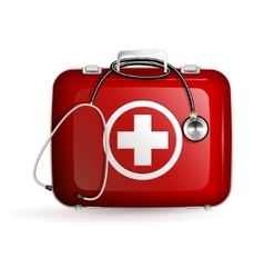 First aid box with stethoscope on white background vector