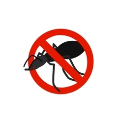 Warning sign with black ant icon vector
