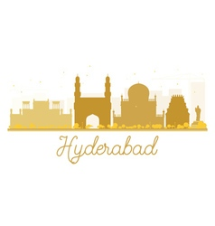 Hyderabad city skyline golden silhouette vector