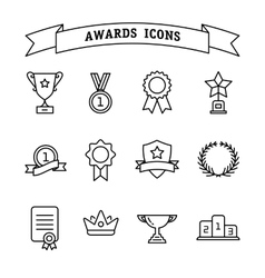 Set of trophy and awards line icons vector