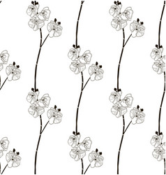 Black seamless pattern with drawn orchid vector