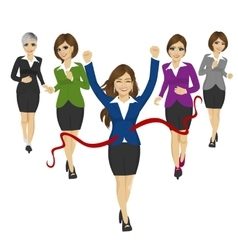 Cheerful business woman crossing the finish line vector